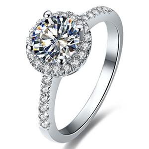 정품 화이트 골드 반지 Moissanite 쥬얼리 0.5CT 합성 다이아몬드 반지 헤일로 여성 참여 Moissanite 여성 화이트 골드 반지