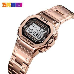 SKMEI Retro Fashion Digital Watch Women 30M Waterproof Multi-Function Watch Stainless Steel Strap reloj digital mujer 1433 ClocK