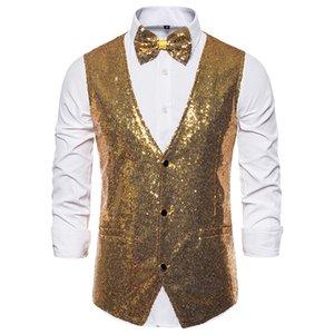 HEFLASHOR Men Fashion Sequin Blazers Vest Gliter Suit Nightclub DJ Stage Clothes Shiny Gold Sequin Bling Glitter Fashion Vest