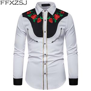 Erkek Casual Gömlek Gül Çiçek Nakış Batı Gömlek Meksika Adam Beyaz Slim Fit Uzun Kollu Parti Festivali Kovboy Kostüm Camisas