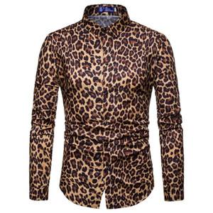 Erkekler Gömlek Leopard Baskı Gömlek Moda Standı Yaka Sahne Casual Uzun Kollu İnce Erkek Sosyal Yaz Erkek Giyim
