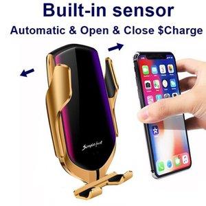 iPhone para o carregador sem fio de fixação Car R1 Inteligente Automático X XR XS 8 Plus Galaxy S10 S9 S8 carregamento rápido Air Vent Mount Phone Holder