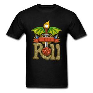 Let's Roll T Shirt Uomo Cartoon 3D Tshirt D20 Tops Gioco Tee Shirts Hip Hop Abbigliamento Uomo Dice T-shirt stampata Cotone Nero