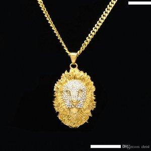 Cadeia Rei Cabeça de Hip Hop Big Lion Pendant Necklace Vintage Animal da cor do ouro Hiphop diamante para homens mulheres pendant presente