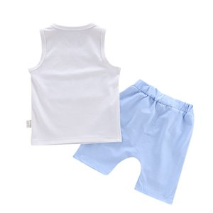 Estate di alta qualità ragazzo casuale semplice Short Shorts manica del vestito Patch panno della maglia senza maniche + Shorts Suit