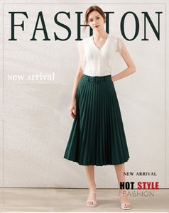 100% Polyester Women's Two Piece Dress Sleeveless V Neck Shirt and Pleated Skirt Wear Sets Lady's Fashion Trends New 2 Piece Set