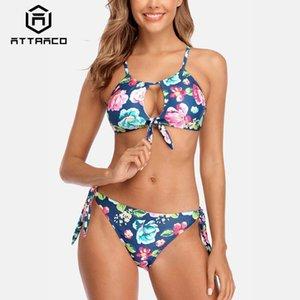 Attraco Donne Bikini anteriore trasversale del bikini Swimwear Bende stampata fiore sexy spinge verso l'alto costume da bagno
