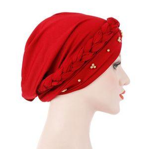 2020 New Muslim Hat Elegant Beads Braid Turban Cap Women Elasticity Cotton Bandanas Female Headwear Headscraf Hair Accessories Sweet07