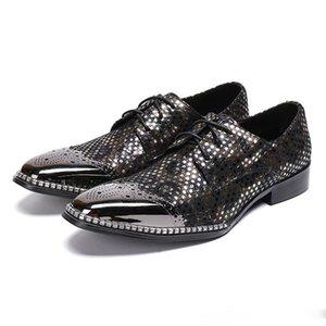 Круглый Toe Узелок Дерби Человек Свадьба Обувь мужская Paty пром обувь Vintage неподдельной кожи Мужская обувь Банкетный