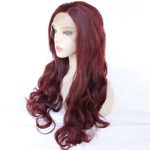 Swiss peruca dianteira do laço Glueless da Mulher Negra resistente ao calor de fibra sintética do cabelo com novo estilo Burgundy sintético Perucas Longo Ondulado BodyWave Wig