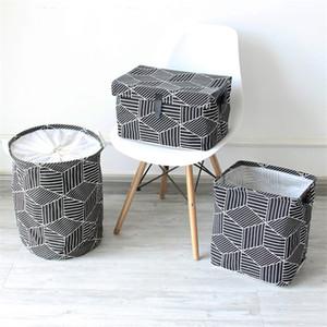 Cuadrado Geométrico Caja de Almacenamiento Hogar Creativo Plegable Recibiendo Cesta de Lavandería Nuevo estilo Suministros de limpieza para el hogar 13 5 mz Ww