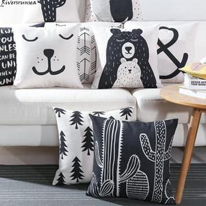 Preto e Branco Almofada Urso bonito Capa Encantadora Cactus animal dos desenhos animados planta geométrica fronha estilo nórdico para Home Chair