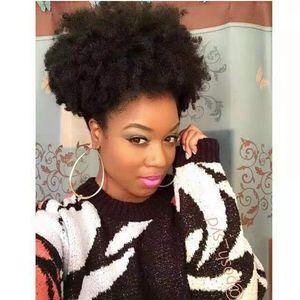 Venta caliente Afro Kinky Curly Ponytail Drawstring 12 pulgadas Corto Afro Kinky Ponytail Clip en extensiones 120g Cabello humano Pony Hair Bun