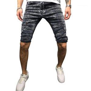 Shorts Summer Fashion Hole breve allentato uomini di lusso del progettista di jeans corti Middel Vita Semplice Mens Denim