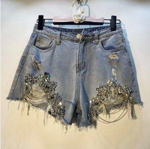 Trous européens Hot Pants 2019 Printemps Eté Femme Perles de Nouveau lourd avec chaînes Jeans Shorts Lady forés Denim Shorts