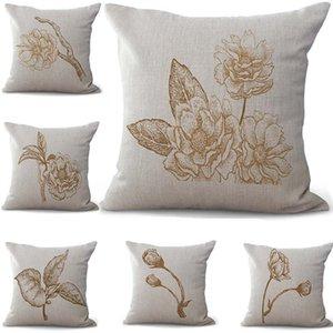 Esboço do lápis Caso Pillow Flor Fronha Lance lençóis de algodão Praça Pillow Covers 6 cores personalizadas gratuito 45x45cm 100g
