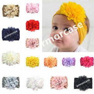 Yeni Bebek Bebek şifon Çiçek Kafa Çocuk Kız Prenses Katı Saç Bandı Yenidoğan Bebek Yumuşak Naylon hairbands Başkanı Wrap Turban CZ313