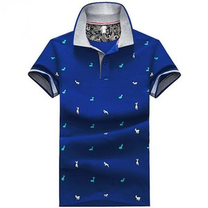 Neue Art und Weise Männer Unisex nette Karikatur Rehen Drucken T-Shirts stricken Baumwolle Kurzarm Stehkragen Jugend Elastic blau weiß Teens Tees Shirts
