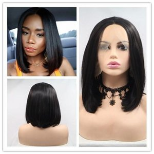 Black Color Short Straight Synthetic Lace Front Bob Wigs For Women Hair Heat Resistant Fiber Short Wig