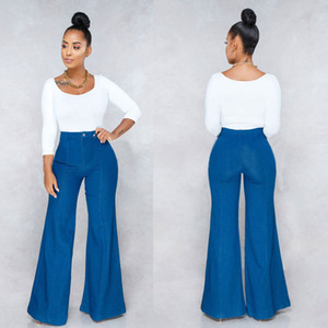 Fashion Flare Jeans Woman Denim Trousers Vintage Women Clothes 2019 Fall High Waist Pants Blue Stretchy Jeans Mom