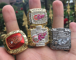 4pcs 1997 1998 2002 2008 Detroit Red Wings Stanley Cup Team Champion Championship Ring With Wooden Box Souvenir Fan Gift Wholesale 2019 2020