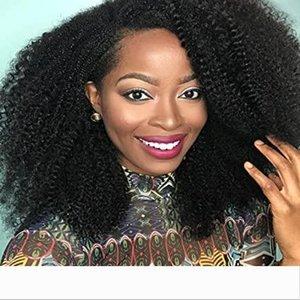 Shiny Brazilian Virgin Human Hair Wigs 4B 4C Afro Kinky Curly Wigs for Black Women Glueless Lace Front Wigs 130% Density(12''