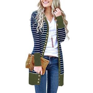 Streifen-Druck Damen Designer Jacken Mode Buttons Panelled Womens Cardigan Outergelegenheits Einreiher Frauen Kleidung