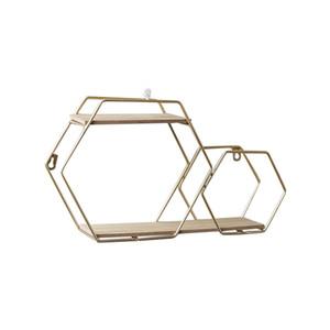 Prateleira, Punch-Free Duplo Hexagon de parede prateleira TV da sala parede Set-Top Box decoração da parede de parede Bookshelf
