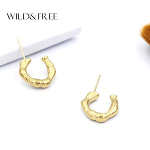 Wild&Free Hot Sale Small Open Hoop Earrings For Women Girl C Shape Irregular Bamboo Tiny Hoops Earring Stainless Steel Jewelry