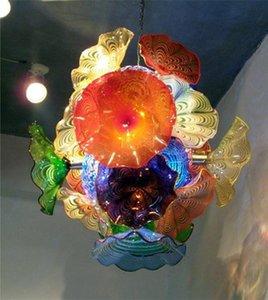 لوحات موضة جديدة زهرة الثريا ضوء نمط زجاج مورانو قلادة مصابيح LED متعدد الألوان الزجاج المنفوخ الثريا الإضاءة