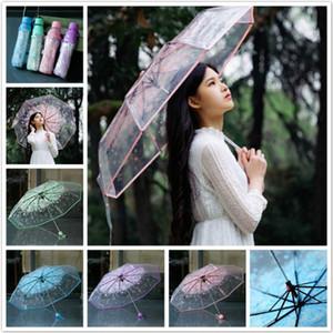 Transparent Sakura Parapluie Romantique PVC Pluie De Mariage Partie Parapluie Long Manche Droite Bâton Cerise Paraguas Effacer Parapluie