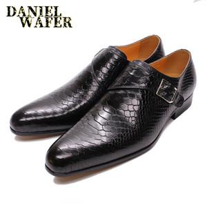 Herren-Leder-Schuhe Snake Skin Prints Männer Formelle Schuhe Black Coffee legere Kleidung Beleg auf Spitzschuh Herren Loafer aus Leder