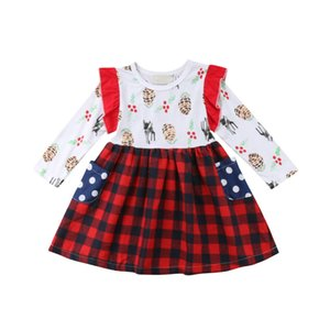 Xmas roupa do bebê da menina Girls Dress cervos Impresso criança crianças Bebés Meninas Cotton Princesa T-shirt da manta partido vestido Tutu roupa