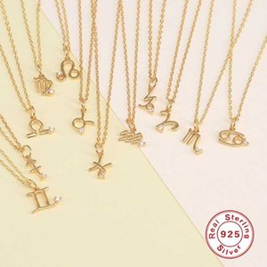 Pendant Necklaces Golden Color S925 Sterling Silver Necklace 12 Constellation Personalized Zircon For Women Fashion Jewelry W3