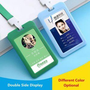 Dupla Face suporte de plástico vertical e cartão emblema Horizontal ID ID passagem Detentor do Nome Badge Holder Com Neck Lanyard Strap