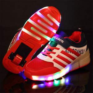 الملونة LED اللمعان واحدة التزلج على الجليد الأسطوانة أحذية للأطفال بوي فتاة بكرة HEELYS احذية هدية الطفل