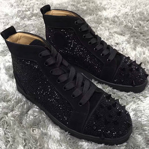 Marke Designer High Top Rot Bottom Mens Luxury Pik Pik Spikes Männer, Frauen Wildleder Strass Sneakers Lace-up Casual Schuhe EU35-46 Kostenlos