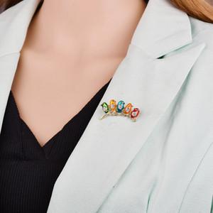 Kızlar Çocuk İyi Hediyeler Eşarp Omuz Suit Yaka b1 İçin Renkli Beş Sevimli Kuşlar Broş Kristaller Emaye Takı