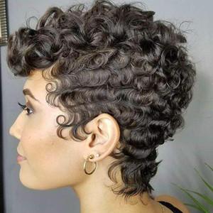 En çok satan siyah küçük kıvırcık saç peruk Siyah bayan moda kısa yüksek sıcaklık ipek kimyasal lif kaput Yüksek dereceli iç net gül