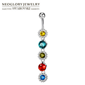 Toptan Avusturya Rhinestone Vücut Takı Renkli Çiçek Zincir Şekilli Göbek Bell Düğme Yüzük Lady Zarif Parti Satış Için