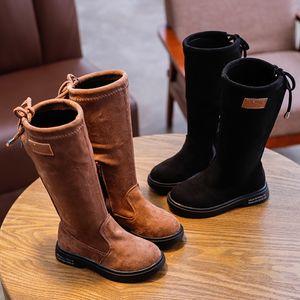 Enfant Enfants Bébé Automne Hiver Bébé Fille Mode Flock solide longues Chaussures Outdoor Bottes enfants chaussures Sapato Bota infantil 2019