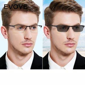 Evove fotokromik camlar Erkek Bukalemun Güneş Erkek Miyop Diyoptri yarı çerçevesiz tahrik gözlüğü