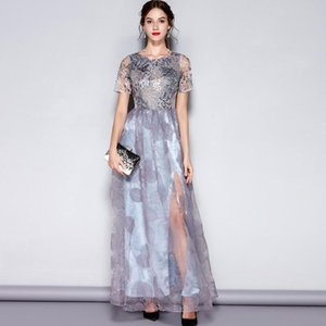 New Arrival 2018 Women's O Neck Short Sleeves Embroidery Layered Elegant Party Dresses Prom Long Maxi Runway Dresses