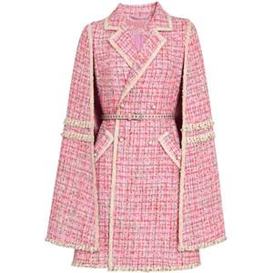 small fragrance tweed cloak woolen coat women pink double breasted slim wool blend overcoat