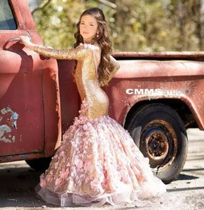 Paillettes oro lusso sirena fiore girsl abiti appliques backless little girls spettacolo vestito maniche lunghe prima comunione gown
