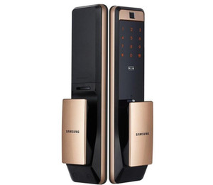 SAMSUNG SHP-DP609 sans clé d'empreintes digitales PUSH PULL Two Way numérique Door Lock English Version Big mortaise couleur or