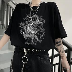 diversión coreana dropshipping Ulzzang dragón lindo del punk ropa gótica Top corto manga de hip hop barra de cosecha de impresión Harajuku las mujeres camiseta