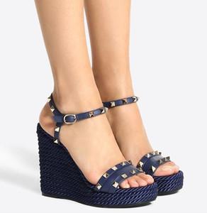 Calidad superior de lujo Alpargatas cuñas de roca verano Espárragos piel de becerro sandalias de las cuñas Espárragos diseñador de moda de las señoras de las sandalias gladiador