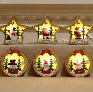Lámpara LED de madera Chalet de Navidad colgante con luz de madera del marco de la estrella Ronda ornamento de navidad luminoso colgando colgante decoración GGA2975-1
