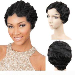 Brezilyalı Remy saç Kısa Dalgalı Fringer Dalga Peruk İçin Siyah Kadın% 100 İnsan Saç Peruk Anne Saç Peruk